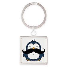Mustache Penguin Trend Square Keychain