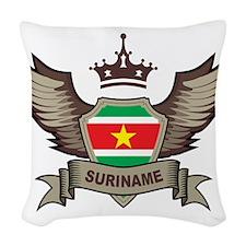 Suriname Emblem Woven Throw Pillow