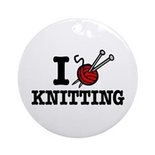 I Love Knitting Ornament (Round)