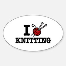 I Love Knitting Oval Decal