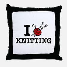 I Love Knitting Throw Pillow