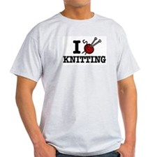 I Love Knitting Ash Grey T-Shirt