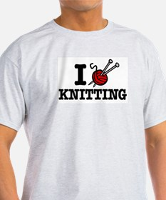 I Love Knitting Ash Grey T-Shirt