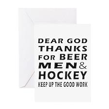 Beer Men and Hockey Greeting Card