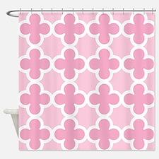 Pink Quatrefoil Pattern Shower Curtain