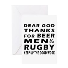 Beer Men and Rugby Greeting Card