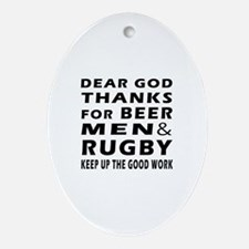 Beer Men and Rugby Ornament (Oval)