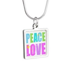 Inked Peace and Love Silver Square Necklace