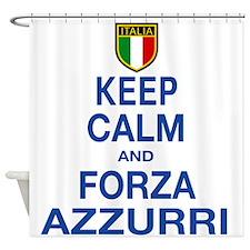 Keep Calm and Forza Azzurri Shower Curtain