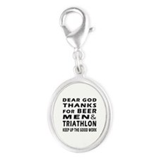Beer Men and Triathlon Silver Oval Charm
