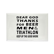 Beer Men and Triathlon Rectangle Magnet