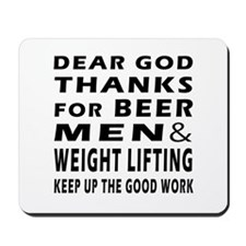 Beer Men and Weight Lifting Mousepad