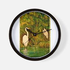 Egrets! Bird, wildlife, wetland art! Wall Clock