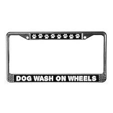 Dog Wash On Wheels License Plate Frame