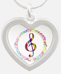 Music in the Round Silver Heart Necklace