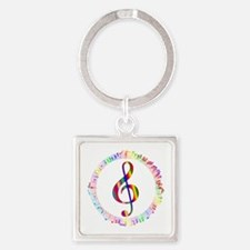 Music in the Round Square Keychain
