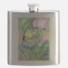 Gold finch! Bird art! Flask