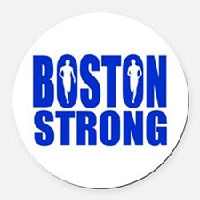 Boston Strong Blue Round Car Magnet