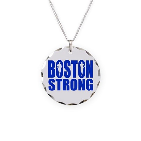 Boston Strong Blue Necklace Circle Charm