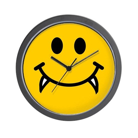 Vampire smiley face Wall Clock