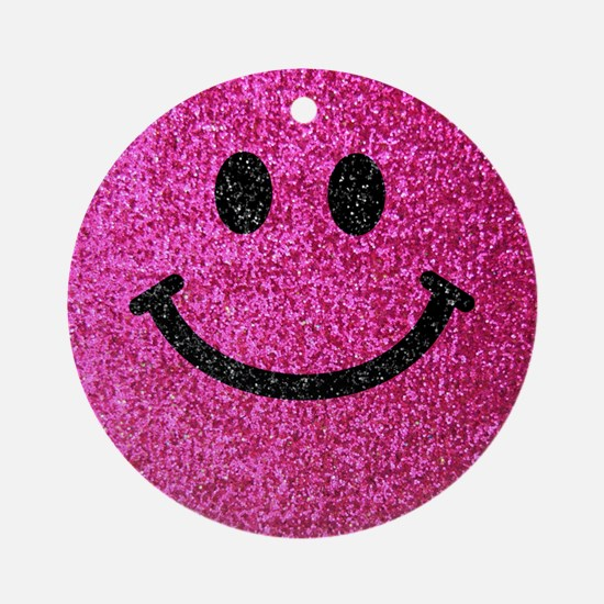 Hot pink faux glitter smiley face Ornament (Round)
