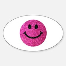 Hot pink faux glitter smiley face Decal