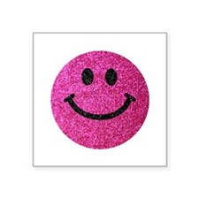 Hot pink faux glitter smiley face Sticker