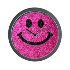 Hot pink faux glitter smiley face Wall Clock