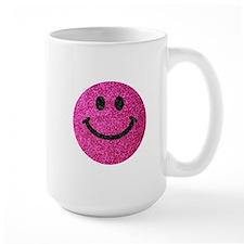 Hot pink faux glitter smiley face Mug