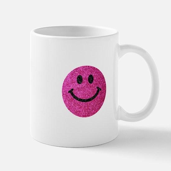 Hot pink faux glitter smiley face Small Mug