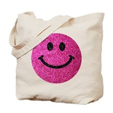 Hot pink faux glitter smiley face Tote Bag