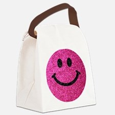 Hot pink faux glitter smiley face Canvas Lunch Bag