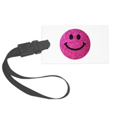 Hot pink faux glitter smiley face Luggage Tag
