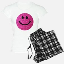Hot pink faux glitter smiley face pajamas