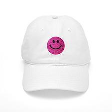 Hot pink faux glitter smiley face Baseball Cap