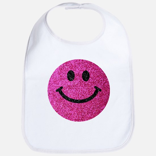 Hot pink faux glitter smiley face Bib