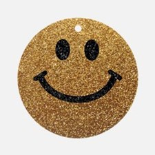 Gold faux glitter smiley face Ornament (Round)