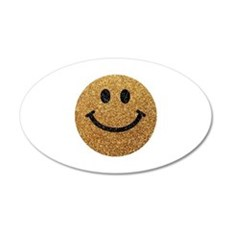 Gold faux glitter smiley face Wall Sticker