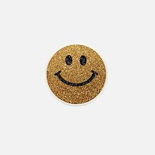 Gold faux glitter smiley face Mini Button