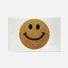 Gold faux glitter smiley face Rectangle Magnet