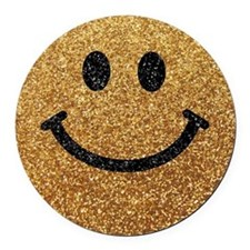 Gold faux glitter smiley face Round Car Magnet