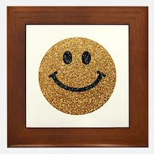 Gold faux glitter smiley face Framed Tile