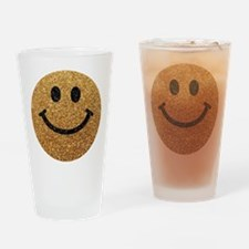 Gold faux glitter smiley face Drinking Glass