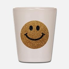 Gold faux glitter smiley face Shot Glass