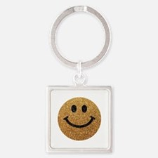 Gold faux glitter smiley face Keychains
