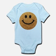 Gold faux glitter smiley face Body Suit