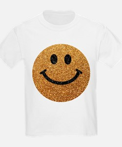 Gold faux glitter smiley face T-Shirt
