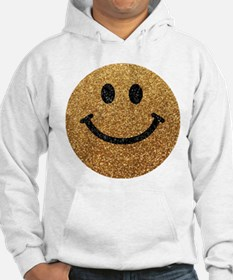 Gold faux glitter smiley face Jumper Hoody
