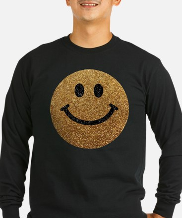 Gold faux glitter smiley face Long Sleeve T-Shirt