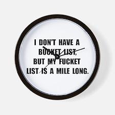 Bucket Fucket List Wall Clock